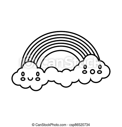 cute rainbow with clouds kawaii characters weather line style icon - csp86520734