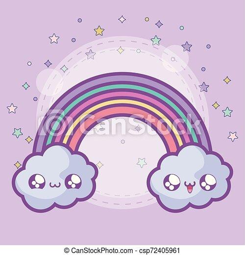 cute rainbow with clouds kawaii style - csp72405961