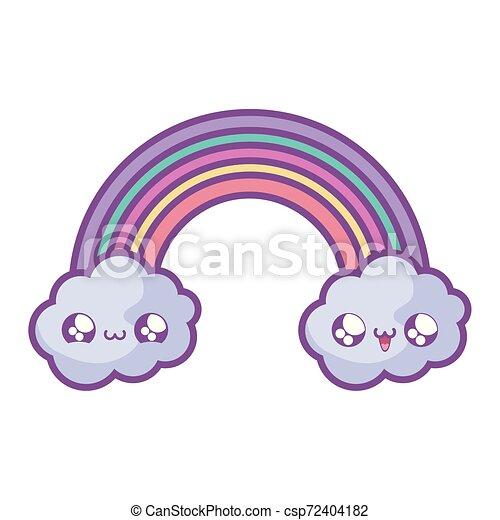 cute rainbow with clouds kawaii style - csp72404182