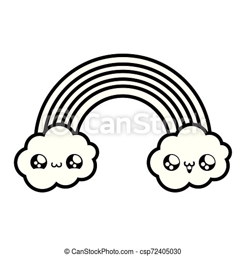cute rainbow with clouds kawaii style - csp72405030