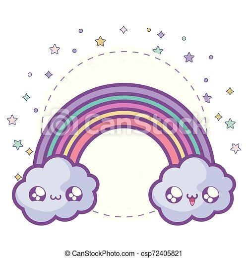 cute rainbow with clouds kawaii style - csp72405821
