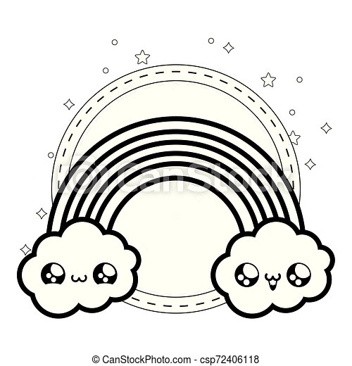 cute rainbow with clouds kawaii style - csp72406118