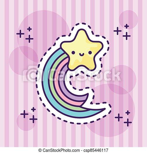 cute rainbow with star kawaii style - csp85446117