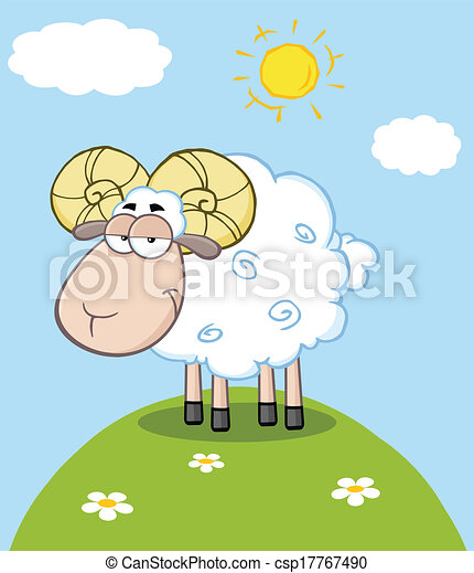 Cute Ram Sheep Character On A Hill - csp17767490