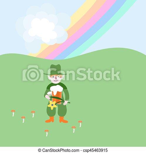 Cute red blonde leprechaun with beer and flower under rainbow - csp45463915