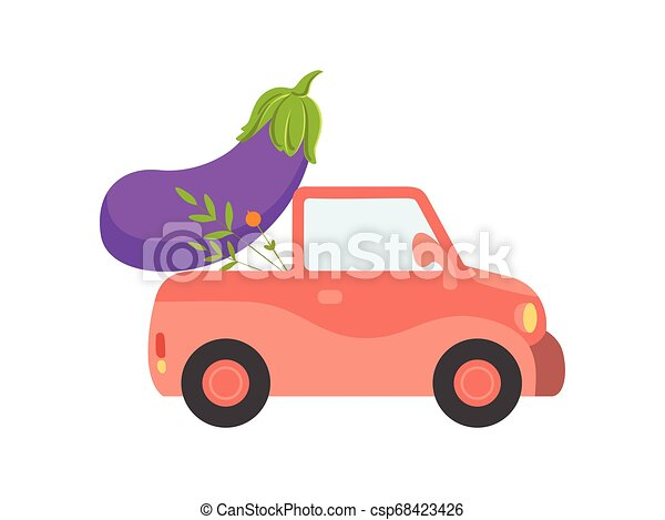 Cute Red Car Delivery Giant Eggplant, Side View, Shipping of Fresh Garden Vegetables Vector Illustration - csp68423426