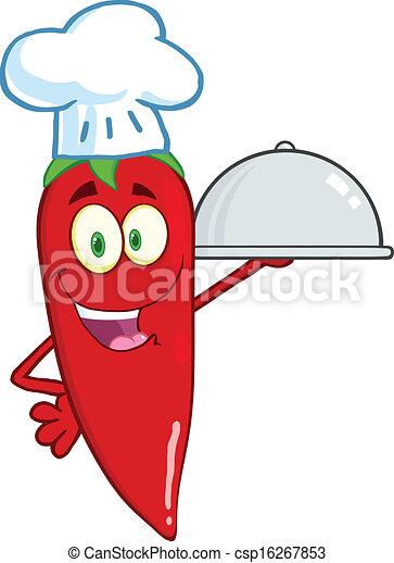 Cute Red Chili Pepper Chef - csp16267853