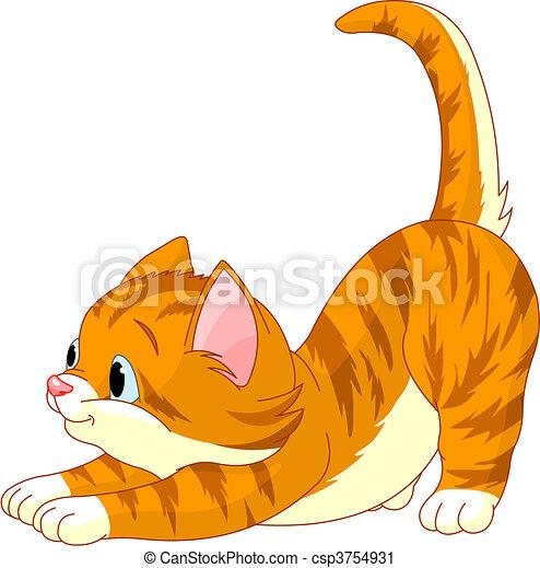 Cute red hair Cat stretching - csp3754931