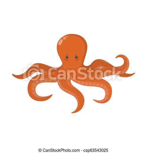 Cute red octopus from the ocean. Marine animal - csp63543025