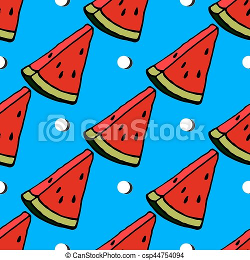 Cute Red Watermelon Slice Design On Striped Blue Background Seamless Pattern Wallpaper