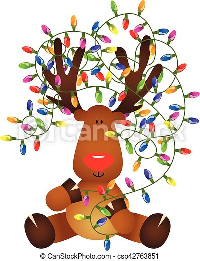 Cute reindeer with Christmas lights - csp42763851