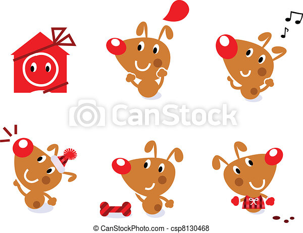 Cute Retro Christmas Dog Set Isolated On White Little Brown