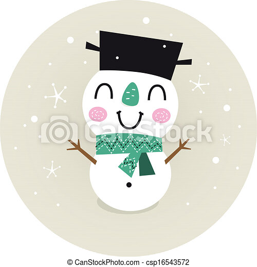 Cute retro Snowman boy in circle isolated on beige - csp16543572