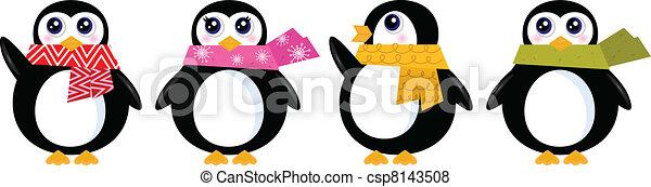Cute retro winter Penguin set isolated on white ( vector ) - csp8143508
