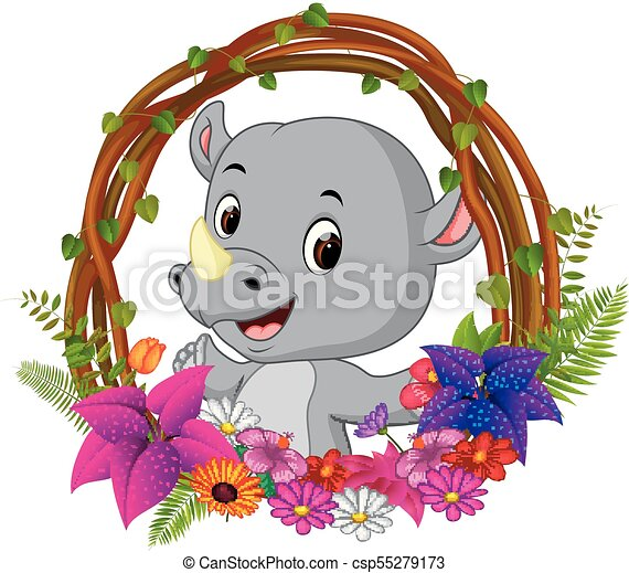 Illustration of cute rhino in root of tree frame with flower.