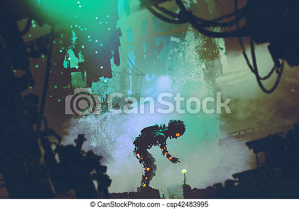 cute robot touching flower in ruined city - csp42483995