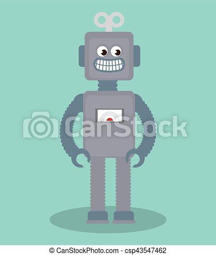 cute robot toy icon - csp43547462