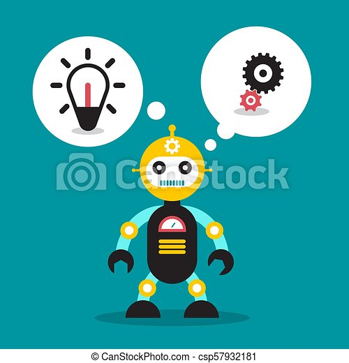 Cute Robot Toy with Bulb and Cogs in Speech Bubble - csp57932181