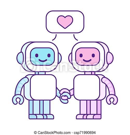 Cute robots in love - csp71990694