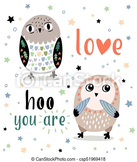 Cute romantic card with cartoon owls love hoo you are love cute romantic card with cartoon owls love hoo you are csp51969418 voltagebd Images