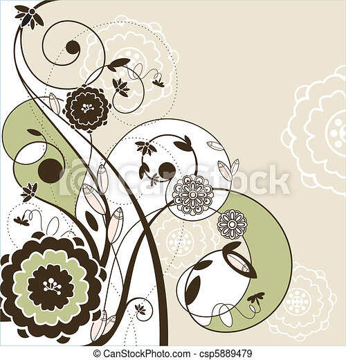 cute romantic card with flowers - csp5889479