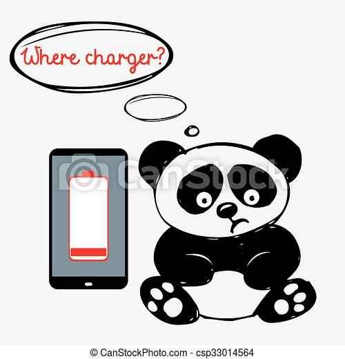 Cute sad panda with a smartphone that is discharged - csp33014564