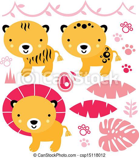 Cute safari animals set isolated on - csp15118012