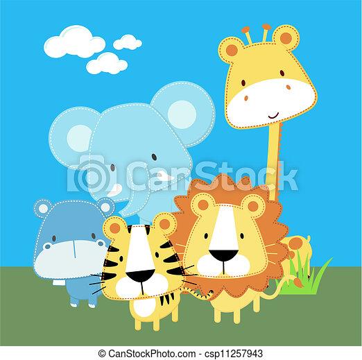 cute safari baby animals - csp11257943