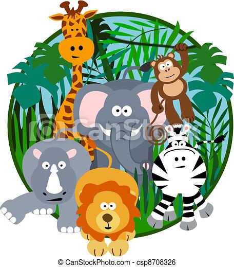 cute safari cartoon illustration of a cute safari group of animals rh canstockphoto com safari hat clipart free safari hat clipart free