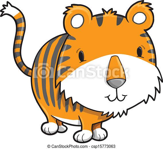 cute safari tiger cub vector illustration art clip art vector rh canstockphoto com tiger cub clipart free cute tiger cub clipart