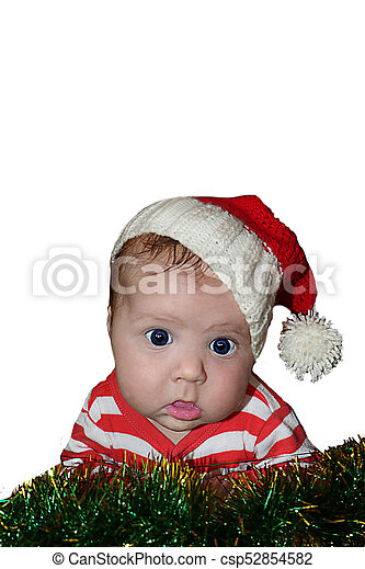 64041b709 Cute santa baby with dumbfounded face dressed in red sanata hat and  stripped red jacket isolated on white background. can be used for design of  banners, ...