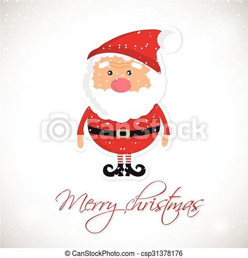 cute santa claus on white christmas background with lights rh canstockphoto com cute santa clipart free Santa Claus Border Clip Art