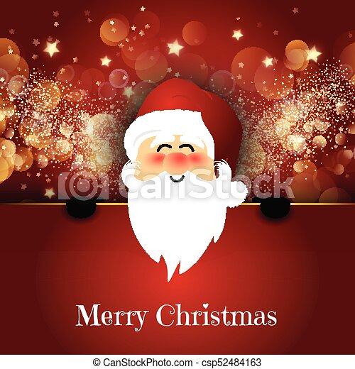 Cute Santa on a bokeh lights background - csp52484163