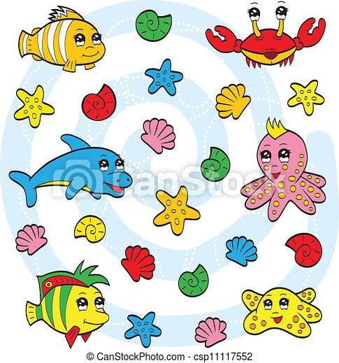 Cute Sea Animals An Illustration Of Very Cute Cartoon Sea Animals