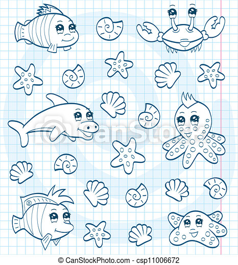 Cute Sea Animals Coloring Book