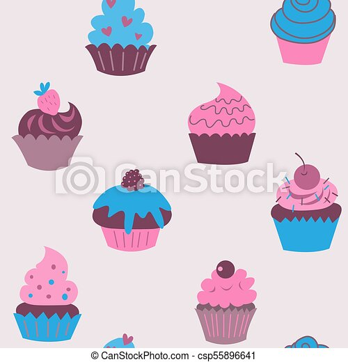 Cute seamless pattern of cupcakes with flowers - csp55896641