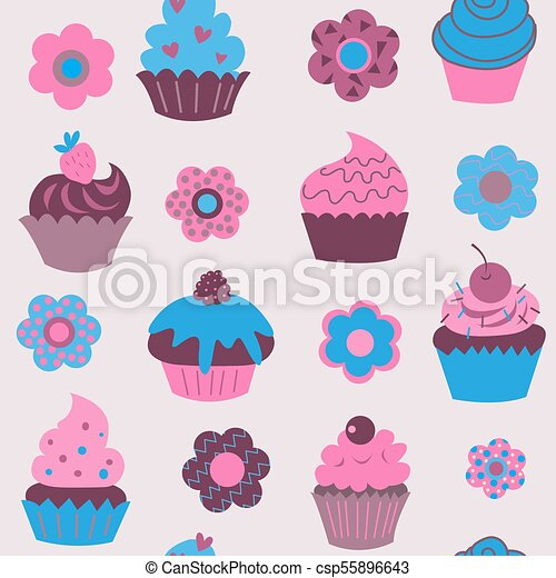 Cute seamless pattern of cupcakes with flowers - csp55896643