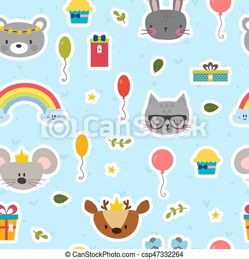 Cute seamless pattern with cartoon animals. Sweet birthday background for children - csp47332264