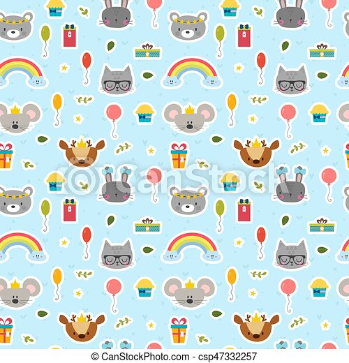 cute seamless pattern with cartoon animals happy birthday theme