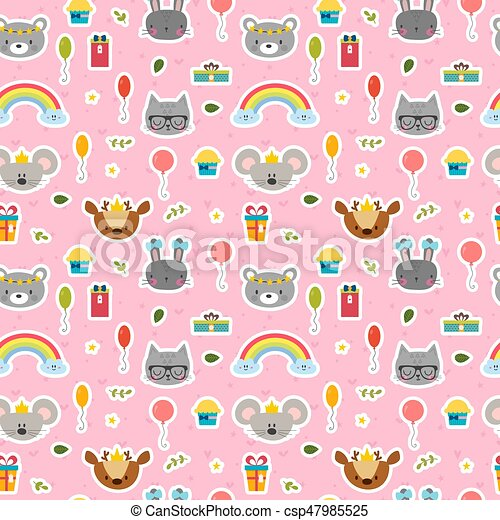 Cute seamless pattern with cartoon animals. Sweet background for children - csp47985525