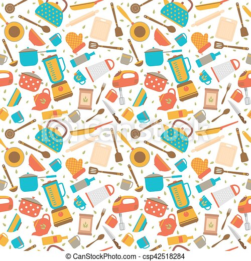 Cute Seamless Pattern With Kitchen Tools Cooking Utensils Background