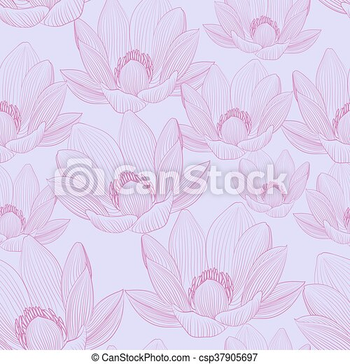 Cute Seamless Pattern With Pink Lotus Flowers Water Lilies