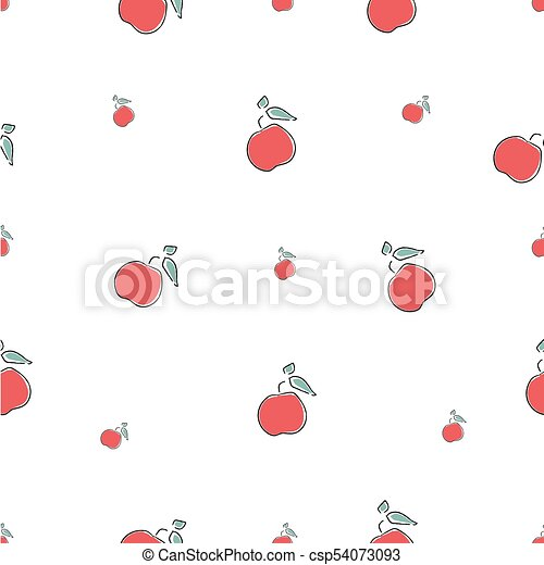 cute seamless pattern with red apples background hand drawn