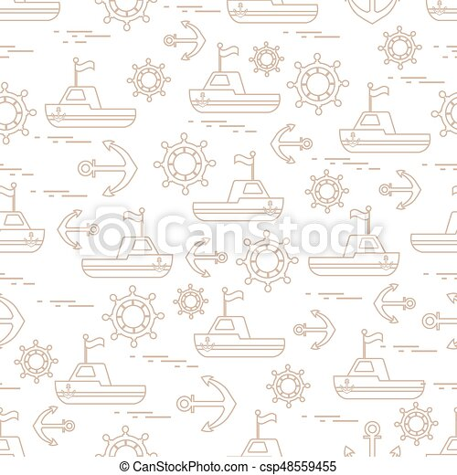 Cute seamless pattern with ships, steering wheels, anchors, flags. Marine theme. - csp48559455