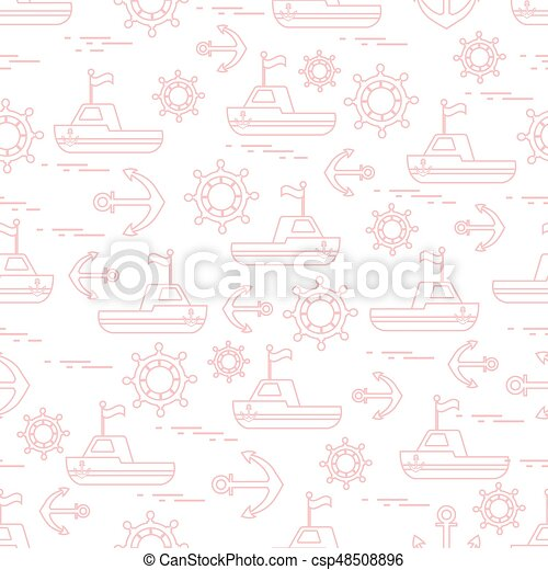 Cute seamless pattern with ships, steering wheels, anchors, flags. Marine theme. - csp48508896