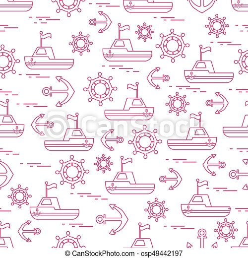 Cute seamless pattern with ships, steering wheels, anchors, flags. Marine theme. - csp49442197