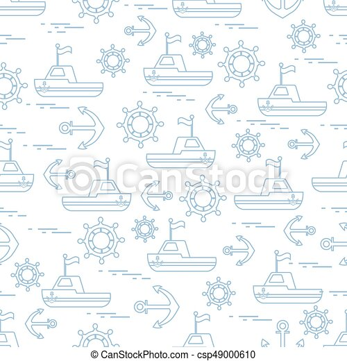 Cute seamless pattern with ships, steering wheels, anchors, flags. Marine theme. - csp49000610