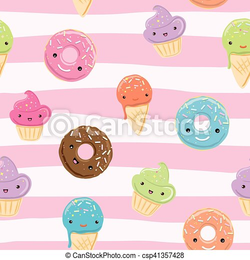 Cute Seamless Pattern With Sweets Seamless Pattern With Sweets