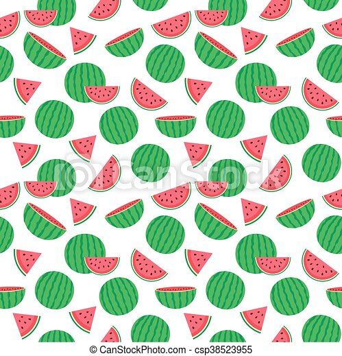 Cute seamless pattern with watermelons - csp38523955