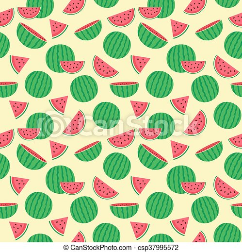 Cute seamless pattern with watermelons - csp37995572